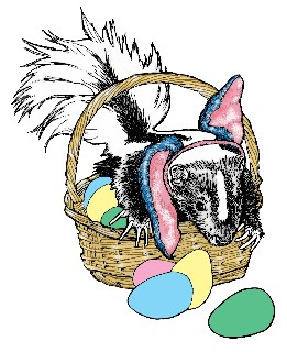 Skunk themed Easter cards and gifts